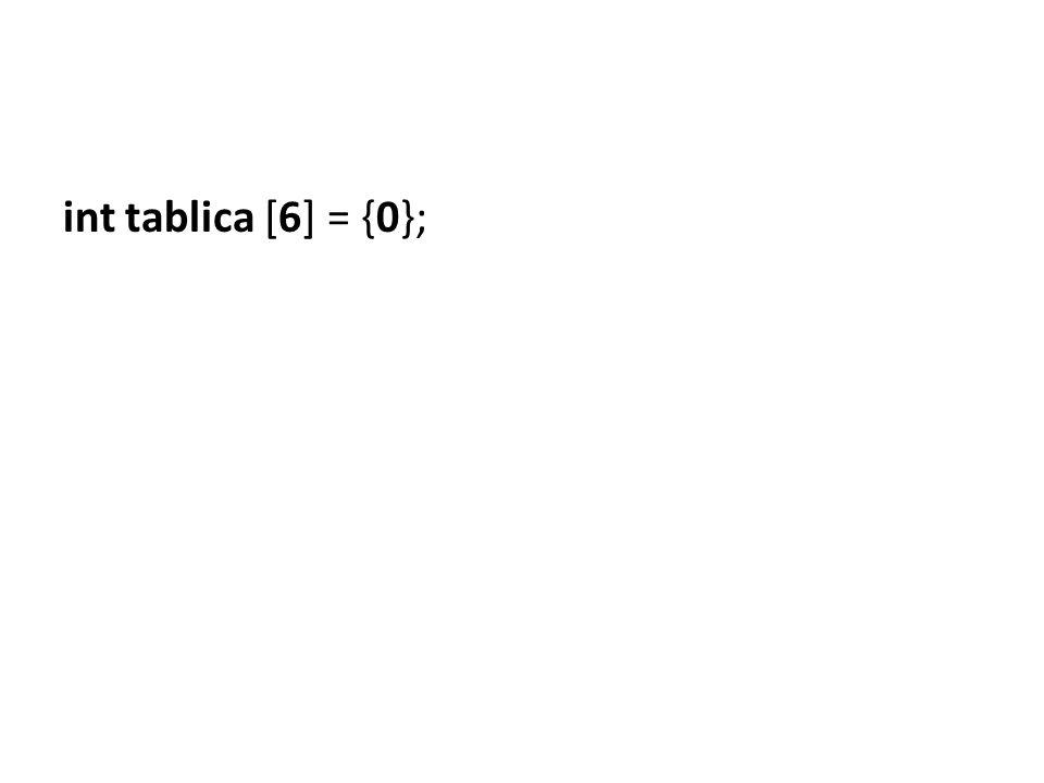 int tablica [6] = {0};